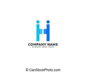 créatif, gens humains, logo, conception, h, lettre