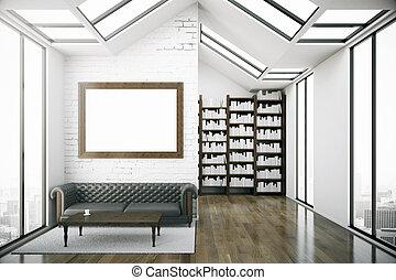 créatif, grenier, bibliothèque, intérieur