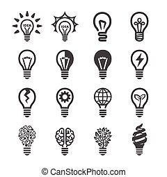 créatif, icône, ampoule, lumière