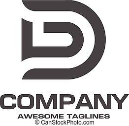 créatif, lettre, d, logo