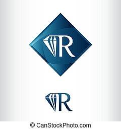créatif, lettre, r, forme, logo, luxe, diamant