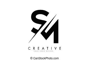 créatif, logo, conception, m, cut., s, lettre, sm