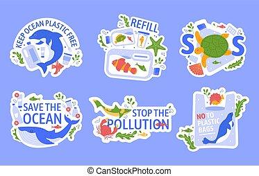 créatif, plastic., plastique, problème, marin, collé, concept., illustration, slogans, eco, bleu, écologie, vie sauvage, écologique, set., pollution, océan, protéger, vecteur, baleine, tortue, dauphin