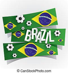 créatif, résumé, drapeau brésilien