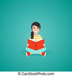 créatif, rouges, mignon, ou, étude, girl, student., emplacement, book., education