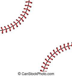 créatif, vecteur, illustration, de, sports, boule base-ball, points, rouges, dentelle, couture, isolé, sur, transparent, arrière-plan., art, conception, fil, decoration., concept abstrait, graphique, élément
