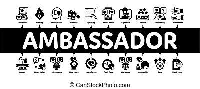 créatif, vecteur, infographic, bannière, ambassadeur, ...