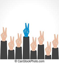 créatif, victoire, fond, main
