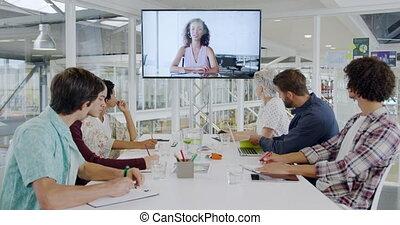créatif, vidéo, réunion, bureau