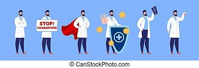 création, isolated., ensemble, gestures., docteur, mâle, divers, poses, docteur., caractère
