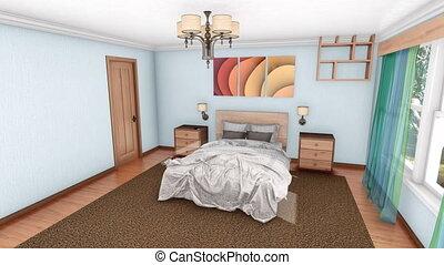 création, moderne, conception, chambre à coucher, intérieur, 3d
