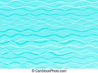 créativité, conception abstraite, vagues, fond, vecteur, bleu