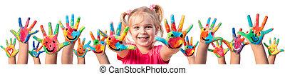 créativité, -, enfants, mains