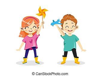 créativité, garçon, jouet, tenue, avion, éolienne, annonce, vecteur, dessin animé, enfants, plat, eduquer fille, hands., development., gosses, plastique, illustration, créatif, concept