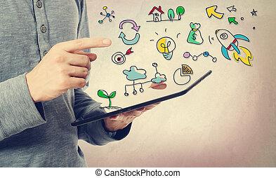 créativité, jeune, pointage, homme, concept