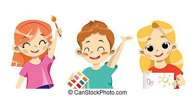 créativité, leur, outils, tenue, annonce, art, projection, vecteur, dessin animé, enfants, plat, école, hands., development., gosses, style., dessins, illustration, créatif, concept