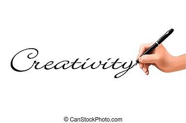créativité, main, 3d, mot, écrit