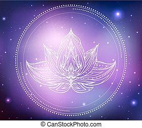 créativité, modèle, vecteur, boho, nebula., fond, spirituel, étoiles, lotus, ton, illustration, néon, espace, magique