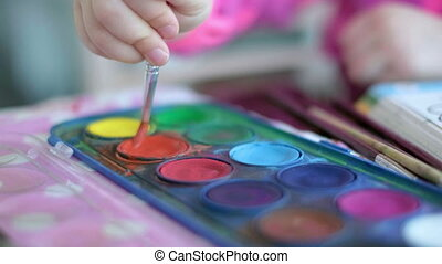 créativité, palette, peinture, fond, pinceau, enfants