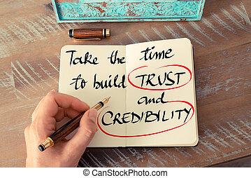 crédibilité, confiance, texte, temps, prendre, construire