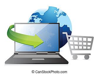 crédit, achats, carte, charrette, globe