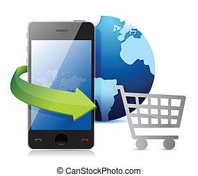 crédit, achats, carte, charrette, smartphone