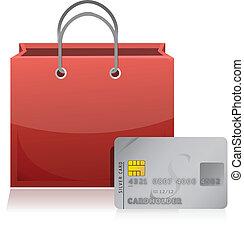 crédit, achats, carte, sac