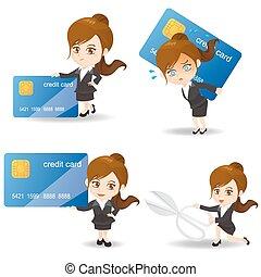 crédit, affaires femme, carte