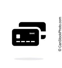 crédit, arrière-plan., cartes, blanc, banque, icône