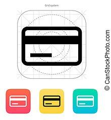 crédit, bande magnétique, icon., carte