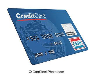 crédit, blanc, carte