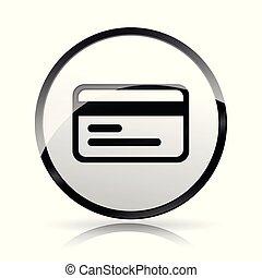 crédit, blanc, carte, fond, icône