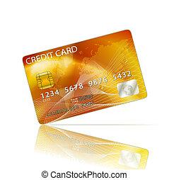 crédit, blanc, isolé, carte, icône