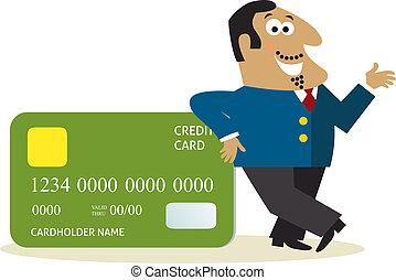 crédit, carte affaires, homme