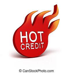 crédit, chaud, sur, blanc