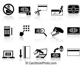 crédit, concept, ensemble, carte, icônes