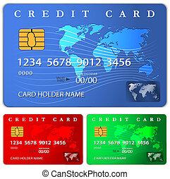 crédit, conception, gabarit, débit, ou, carte