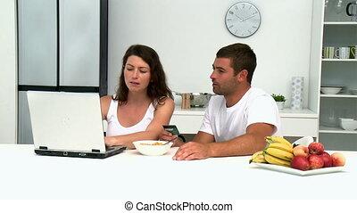 crédit, couple, achat, carte, internet