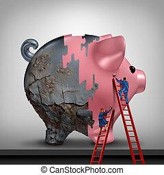 crédit, financier, récupération