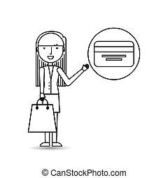 crédit, girl, achats, dessin, carte