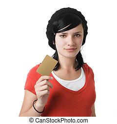 crédit, girl, carte