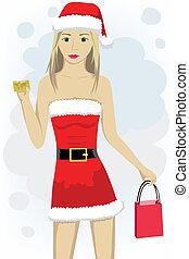 crédit, girl, casquette, carte, santa