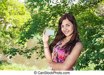crédit, girl, parc, carte, tenue