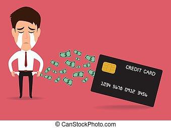 crédit, homme affaires, dette, carte, concept.