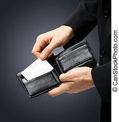 crédit, homme, carte, tenue, complet
