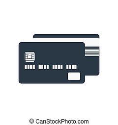 crédit, icône, carte