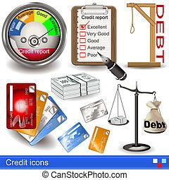 crédit, icônes