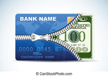 crédit, intérieur, dollar, carte