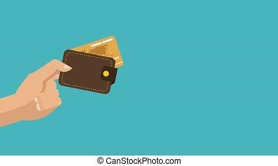 crédit, intérieur, portefeuille, animation, carte, hd