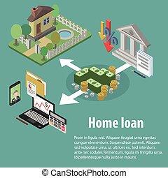 crédit, isométrique, banque